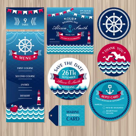 ślub: Zestaw morskich kart ślubne ilustracji