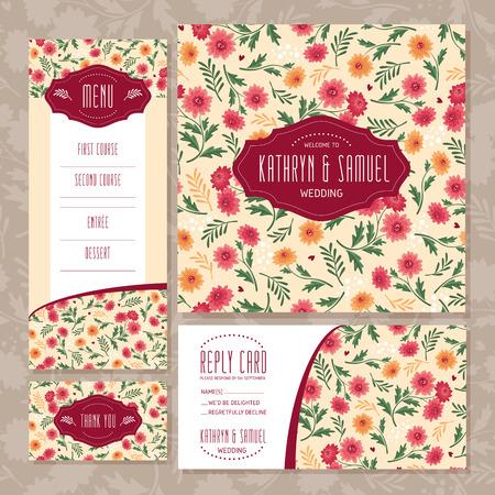 royal family: Set of floral wedding cards  illustration