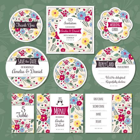 Set of floral wedding cards  イラスト・ベクター素材