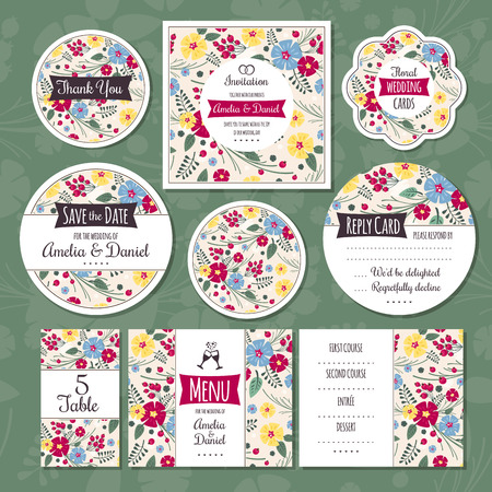 romantic: Set of floral wedding cards Illustration