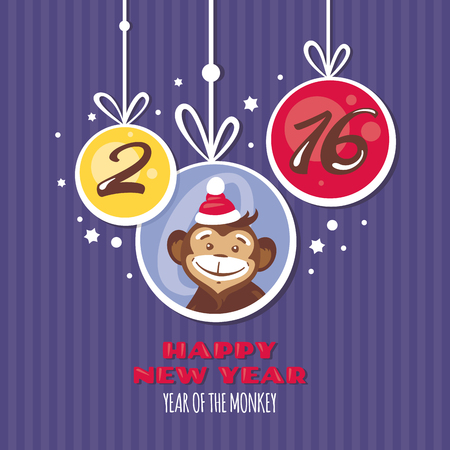 abstract gorilla: New year greeting card with monkey vector illustration