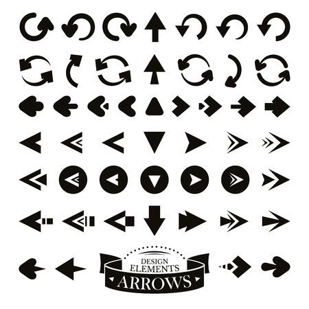 designator: Set of different arrow icons vector illustration