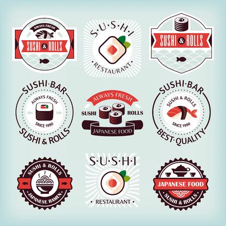 sushi roll: Set of various sushi labels vector illustration Illustration
