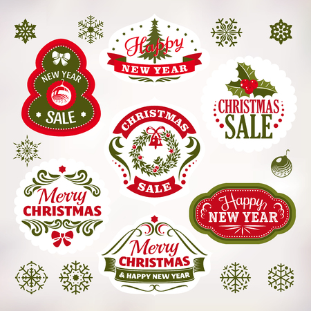 new year decoration: Collection of Christmas and New Year decoration elements and labels