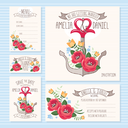 wedding table decor: Set of wedding cards. Wedding invitation, Thank you card, Save the date card, RSVP card and Menu.