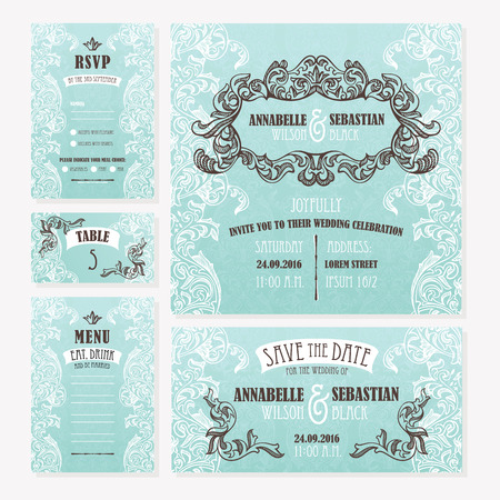 wedding table decor: Set of wedding cards. Wedding invitation, Save the date card, Table card, RSVP card and Menu. Illustration