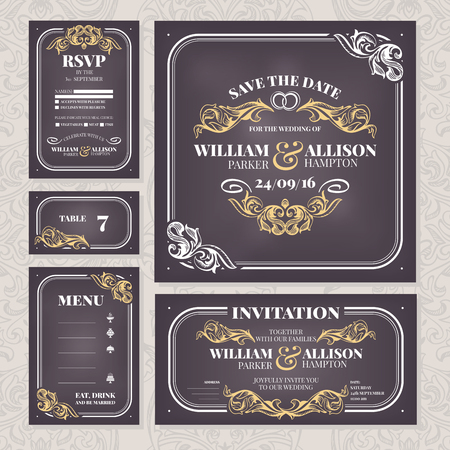 Set of wedding cards. Wedding invitation, Save the date card, Table card, RSVP card and Menu. Illustration