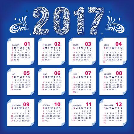2017 stylized calendar. Vector illustration, eps 10  イラスト・ベクター素材