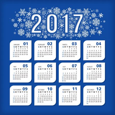 2017 blue calendar with stylized snowflakes. Vector illustration, eps 10