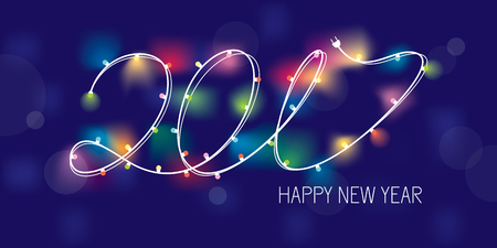 2017 new year greeting banner with stylized garland. Vector illustration, eps 10