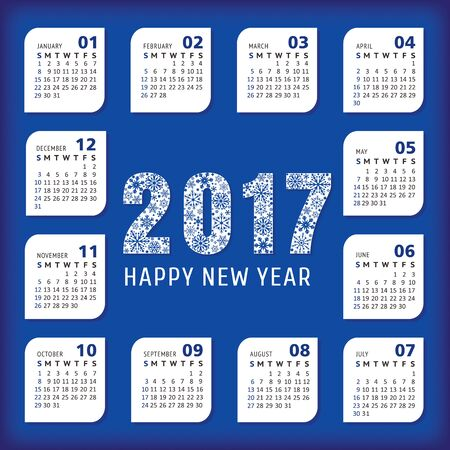 2017 year office calendar. Vector illustration, eps 10  イラスト・ベクター素材