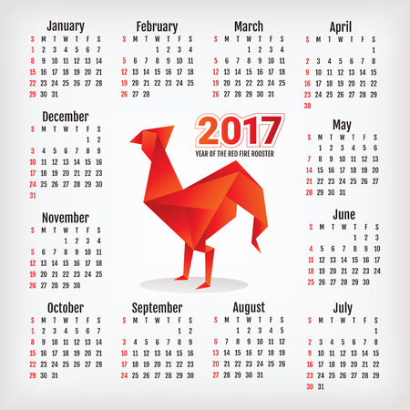 2017 Year Calendar With Chinese Symbol Of The Year Rooster