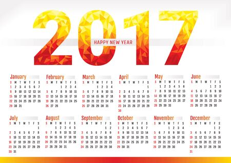 2017 year simple office calendar vector illustration