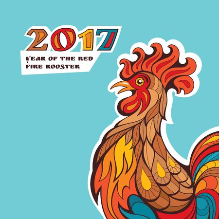 chinese new year card: Chinese new year card with colorful rooster. Vector illustration
