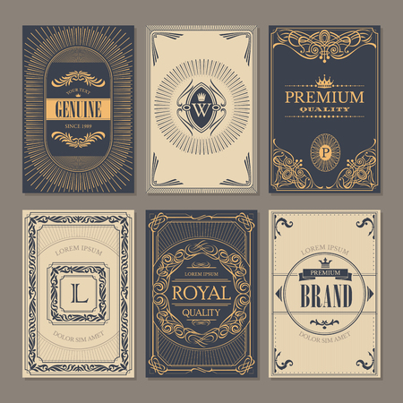 Calligraphic vintage floral cards collection, vector illustration Illustration