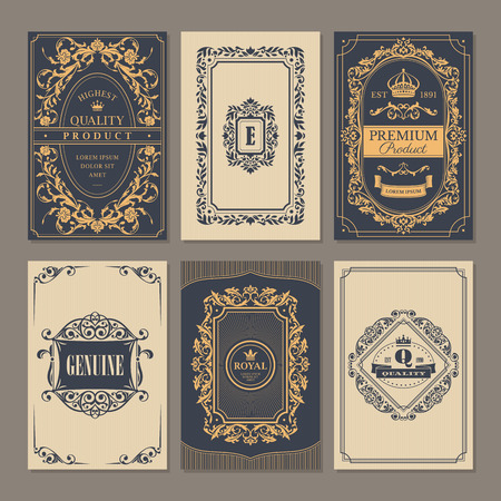 Vintage Colección de las tarjetas florales caligráfica, ilustración vectorial