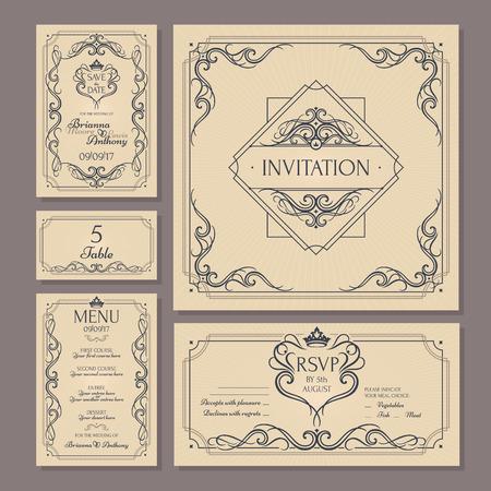 Colección de tarjetas de boda floral vintage caligráfica. Ilustración vectorial Ilustración de vector