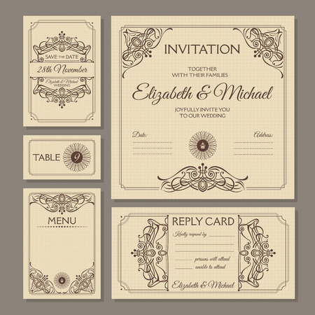 Calligraphic vintage floral wedding cards collection. Vector illustration in brown.  イラスト・ベクター素材