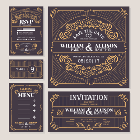 Calligraphic vintage floral wedding cards collection. Vector illustration on black