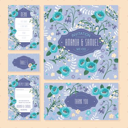 Set of floral wedding cards vector illustration on blue
