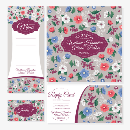 紫のプレゼンテーションの花結婚式カード ベクトル図のセットです。 写真素材 - 75474377