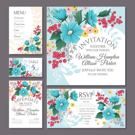 Set of floral wedding cards vector illustration on cool blue presentation.