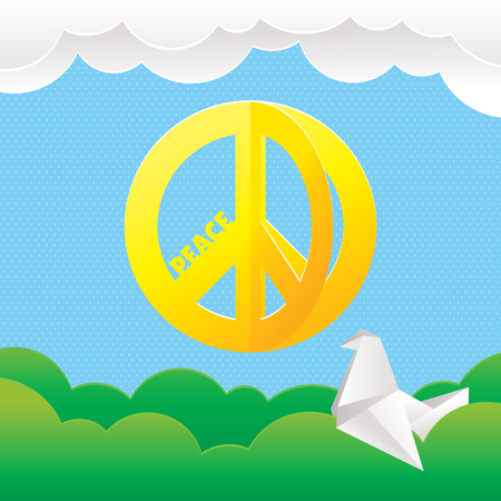 Hippie peace symbol with nature background vector illustration  イラスト・ベクター素材