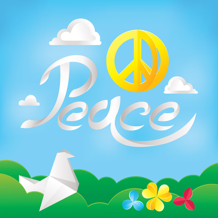 philosophy of music: Hippie peace symbol on a nature background vector illustration