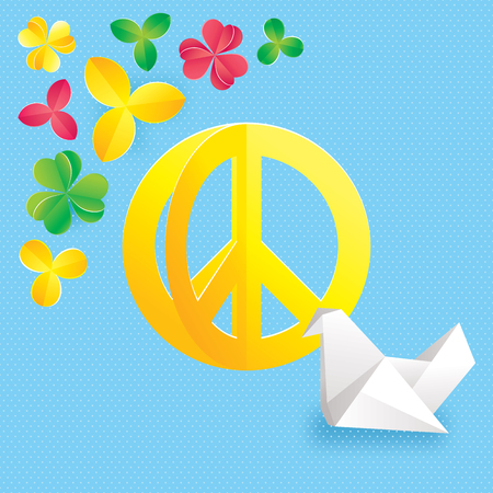 Hippie peace symbol with flowers and origami vector illustration