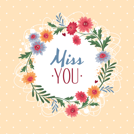 Miss you gift card vector illustration  イラスト・ベクター素材