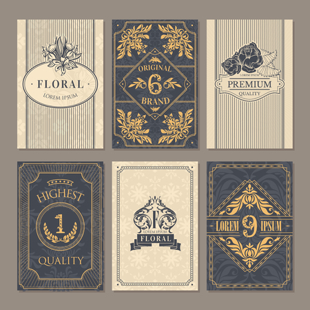 カリグラフィのビンテージ花カード コレクション、ベクトル イラスト 写真素材 - 78371668