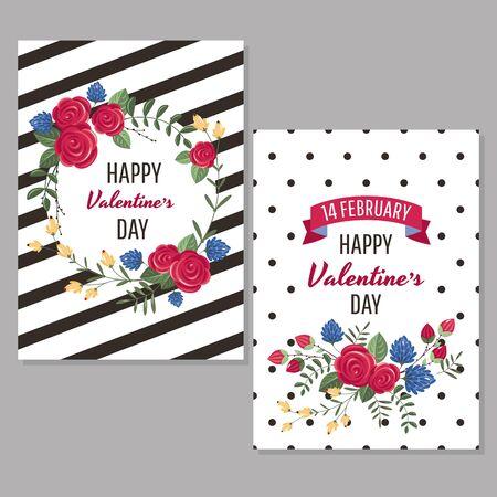 Valentine's day greeting cards vector illustration  イラスト・ベクター素材