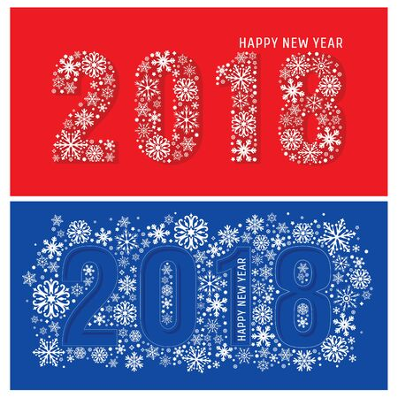 2018 new year banners with snowflakes. Vector illustration.