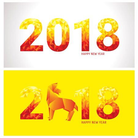 2018 new year banners with stylized dog and numbers. Vector illustration.