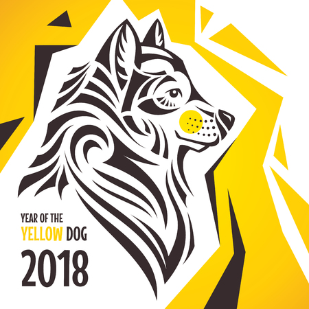 Rok žlutého psa. Stylizovaná novoroční přání 2018. Vektorové ilustrace.