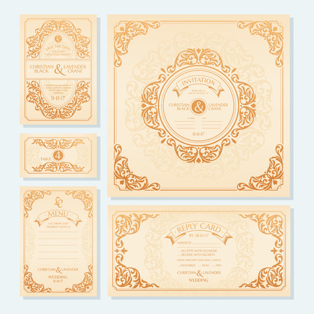Set of wedding cards invitation, save the date card, table card, menu and reply card