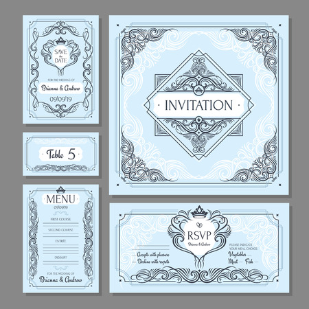 Calligraphic vintage floral wedding cards collection, Vector illustration
