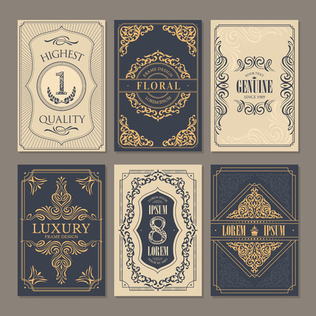 Calligraphic vintage floral cards collection, vector illustration  イラスト・ベクター素材