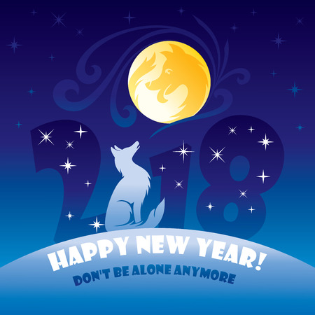 New Year Greeting Card, 2018 Year of The Dog with Don't be alone anymore, text  illustration.