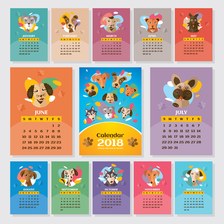 2018 year calendar with stylized dogs, illustration.