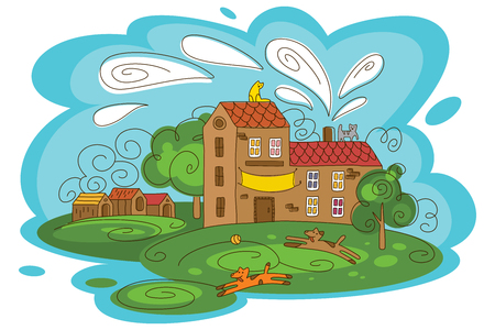 Animal shelter vector illustration with playful animals.