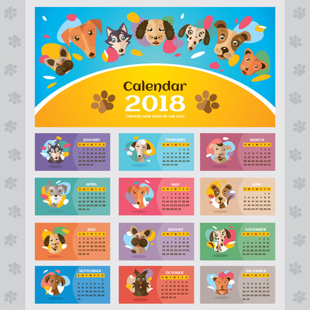 2018 year calendar with stylized dogs, vector illustration.  イラスト・ベクター素材
