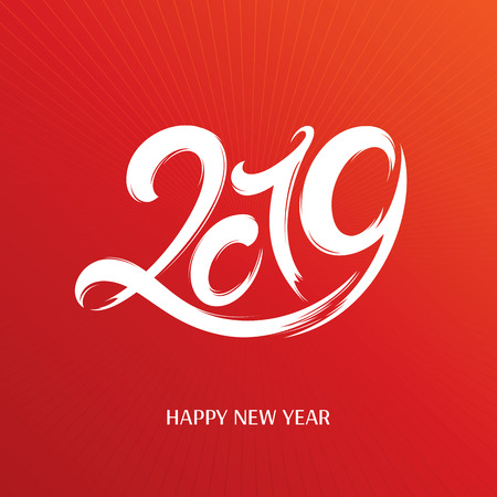 2019 New Year greeting card. Vector illustration