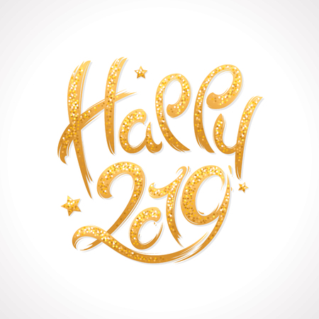 2019 New Year handwritten shimmering lettering greeting card. Hand drawn vector illustration 写真素材 - 110488431