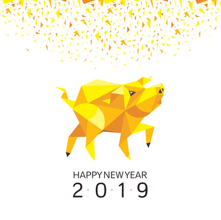 Chinese New Year Greeting Card with Stylized Pig. 2019 Year of The Pig. Vector Illustration.