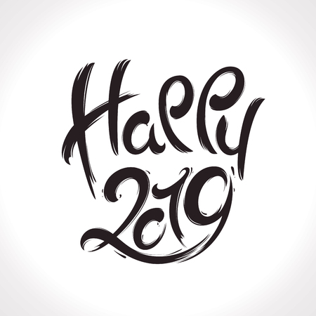 2019 New Year handwritten lettering greeting card made in black and white style.Hand drawn vector illustration  イラスト・ベクター素材