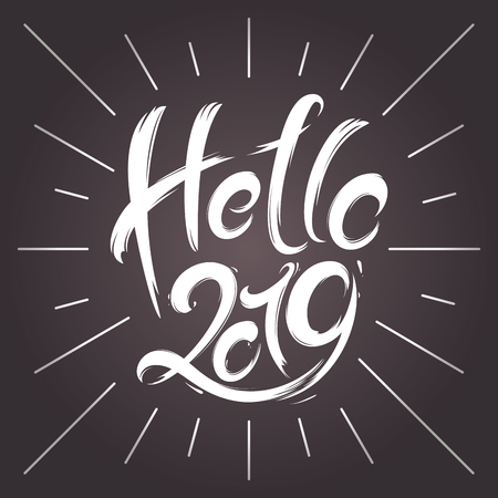 2019 New Year greeting card. Hand drawn vector illustration  イラスト・ベクター素材