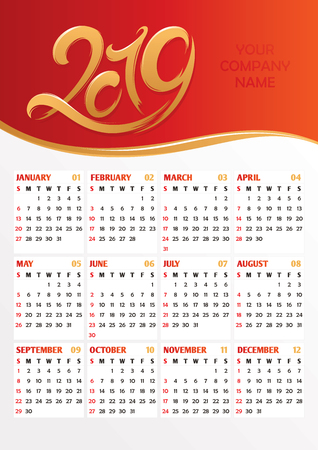 2019 office calendar with calligraphic new year stylized numbers. Vector illustration