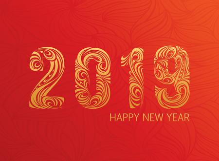 2019 New Year greeting card. Vector illustration 写真素材 - 110488437