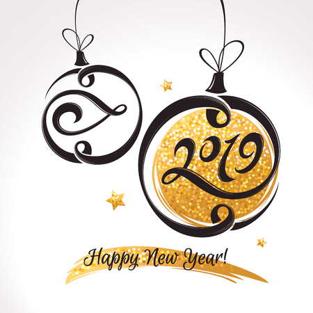 定型化されたクリスマスボールを使った2019年新年グリーティングカード。ベクトルの図 写真素材 - 107349054